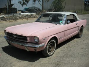 Donna Michelle 1965 Playboy Playmate Pink Ford Mustang Convertible