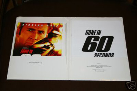 Gone in 60 Seconds press kit nicholas cage angelina jolie
